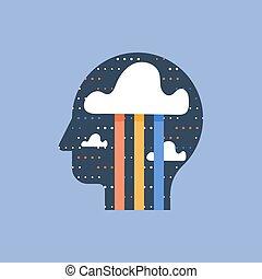 好, 思想, mindfulness, 概念, 积极, 创造性, 想像, brainstorm, 幸福, 心情