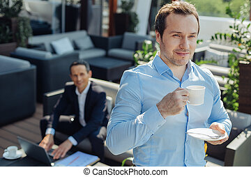 好, 漂亮, 人, 藏品, a, 咖啡茶杯