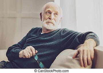 好, 老年, 人坐, 在家