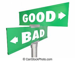 好, vs, 坏, 選擇, 想法, 路, 街簽名, 3d, 插圖