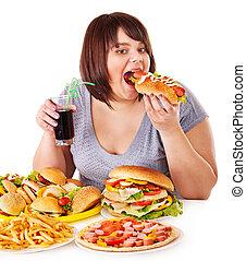 妇女吃, 快, 食物。