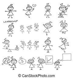 妇女商业, 图, 概念, 手, 卡通漫画, 开心