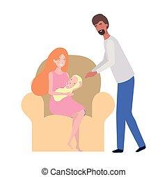 妇女坐, 沙发, newborn婴儿, 人