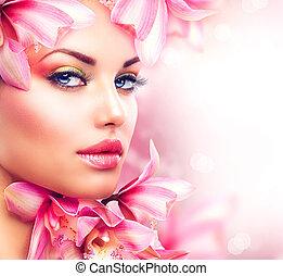 妇女女孩, 美丽, 脸, flowers., 兰花, 美丽