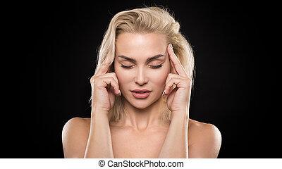妇女思想, 混乱, 不愉快, 黑暗, 背景。, closeup, 肖像, 头痛