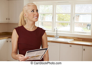 妇女看, 在, 财产, 细节, 为, 新的家