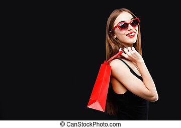 妇女购物, 袋子, 富有, 性感, 红