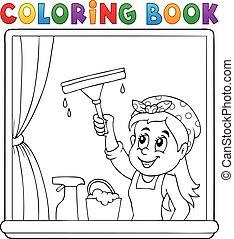 妇女, 书, 打扫, 着色, 窗口