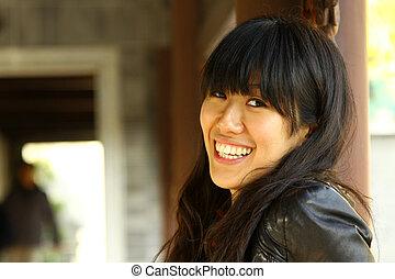 妇女, 亚洲人, 开心