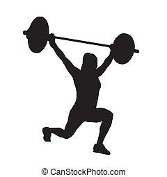 妇女, 侧面影象, 重量, 健身, lifting., 矢量, lunge., training., barbell, 力量