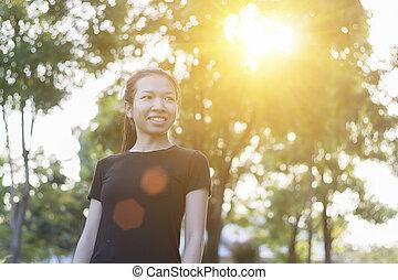 妇女, 公园, 亚洲人, 开心