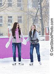 妇女, 冰滑冰, 扣留手