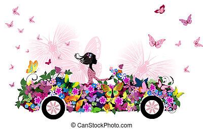 妇女, 在上, 葡萄收获期, 花, 汽车