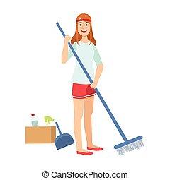 妇女, 地板, 扫帚, , tiding, 成人, 性格, 清扫, 卡通漫画, 打扫
