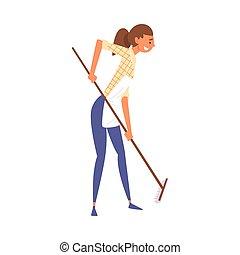 妇女, 地板, 描述, 家务劳动, 矢量, 扫荡, 女孩