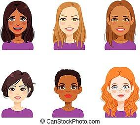 妇女, 多样化, avatar, 脸