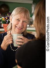 妇女, 女儿, 年长者, 或者, 朋友, 厨房