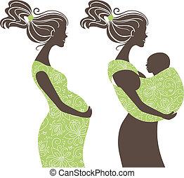 妇女, 妈妈, 吊索, 婴儿, 妇女, silhouettes., 怀孕, 美丽