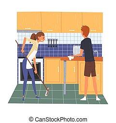 妇女, 家庭, 地板, 妻子, 年轻, 描述, 扫荡, 矢量, 打扫, 一起, 家, 周末, 丈夫, 厨房
