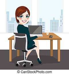 妇女, 工作的办公室, 坐