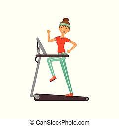 妇女, 工作, 线, 俱乐部, 体育馆, 性格, 年轻, 描述, 跑, 矢量, 健身, 女孩, 在外, 色彩丰富, 或者, 工厂