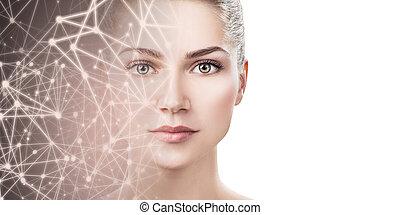 妇女, 布满星星, 年轻, space., 脸, 实际上, 一半, 消失
