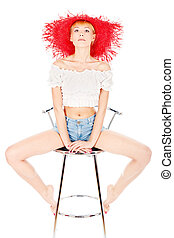 妇女, 带, 红的帽子, 坐, 在上, the, 椅子