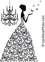 妇女, 带, 蝴蝶, 矢量