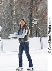 妇女, 年轻, 冰滑冰
