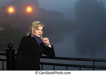 妇女, 年轻, 对, 夜晚, 有雾, 风景