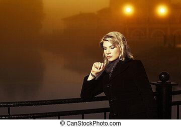 妇女, 年轻, 对, 方式, 夜晚, 有雾, 风景