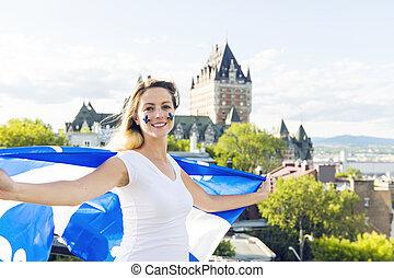 妇女, 庆祝, the, 国家的假日, 在之前, 别墅frontenac, 在中, 魁北克城市