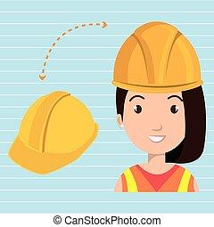 妇女, 建设工具, 工作