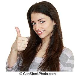 。, 妇女, 很好, 拇指, 显示, 隔离, 标志。, closeup, 背景, 肖像, 白色, 微笑