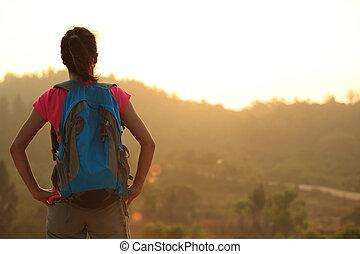 妇女, 徒步旅行者, 喜欢, 年轻, 察看