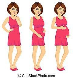 妇女, 怀孕, 过程, 显示, 怀孕, 生长