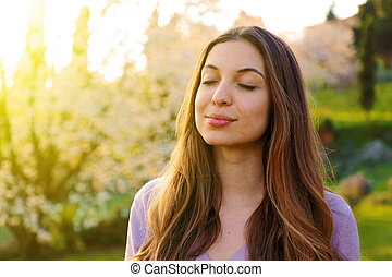 妇女, 性质, 深, 空气, 呼吸, 背景, 肖像, 新鲜