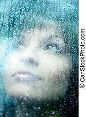 妇女, 悲哀, 大雨, 年轻, 下跌
