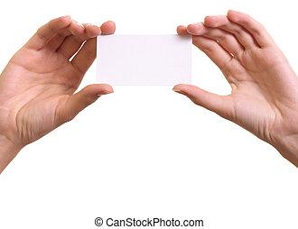 妇女, 手, 纸卡片, 背景, 隔离, 白色