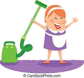 妇女, 打扫