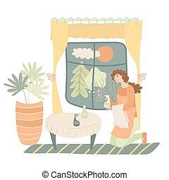 妇女, 打扫, 性格, 开心, 年轻, 持家, 女性, 在室内, 矢量, 窗口, 设计, 卡通漫画, illustration., 套间