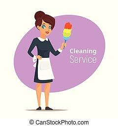 妇女, 打扫, 服务