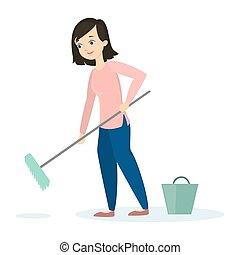 妇女, 打扫, floor.