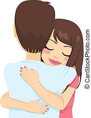 妇女, 拥抱, 人