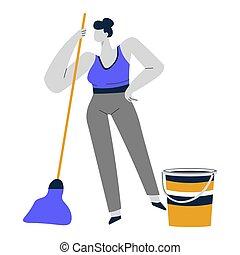 妇女, 服务, 地板, 家庭主妇, 打扫, 扫荡, 清扫, 或者