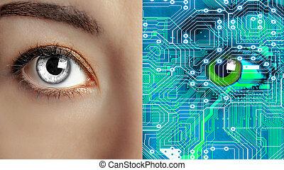 妇女, 机器人, 机器人, 人类, closeup, 一半, 或者, 脸