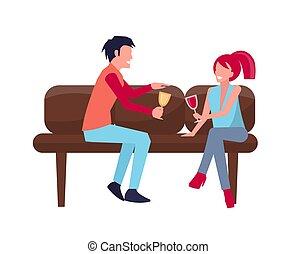 妇女, 沙发, 描述, 矢量, 人, 酒