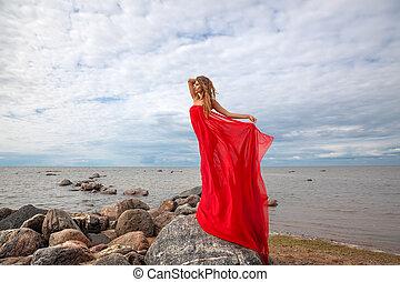 妇女, 海滩, 织品, 海, 红