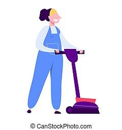 妇女, 清洁工, 打扫, 制服, 使用, 真空, 地板