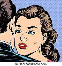 妇女, 爱, 悲哀, 拥抱, 悲哀, 离开, 人, 注明日期, 脸